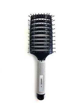iBeauty 10 Rows Concave Vent Hair Brush Soft Rubber Grip Bla