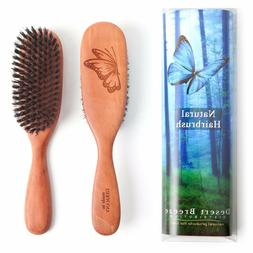 100% PURE WILD BOAR BRISTLE HAIR BRUSH, STIFF NATURAL BRISTL