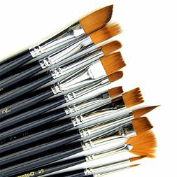 12pcs/Set Artist Paint Brush Nylon Hair Watercolor Acrylic P