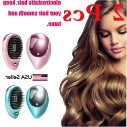 2 Electric Ionic Portable Hair Brush Mini Massage Travel Fri