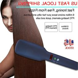 2 in 1 Ceramic Anion Ionic Comb Electric Hair Smoothing Stra
