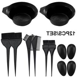 2X Hair Coloring Dyeing Kit Color Dye Brush Comb Mixing Bowl
