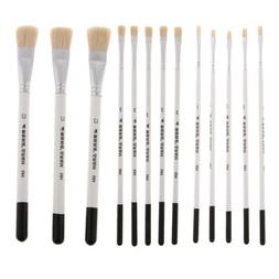 3/5 Sets Natural Hair Artist Flat Paint Brush Set for Oil Ac