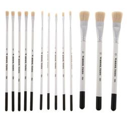 3/5x Natural Hair Artist Flat Paint Brush Wooden Handle Pres