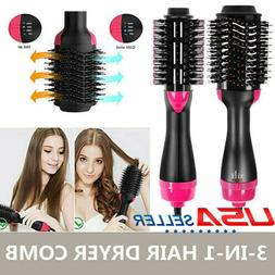 3 in 1 Women Hair Dryer Volumizer One Step Curling Brush Com