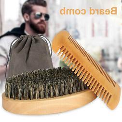 3pcs Beard Brush Mustache Comb Boar Bristle Hair Wood Set Sh