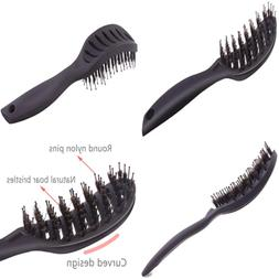 Boar Bristle Vented Hair Brush, Curved Detangling Blow Dryin