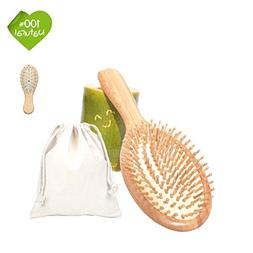 Natural Bamboo Hair Brush Scalp Massage Comb for All Hair Ty