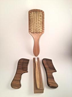 Bamboo Hair Brush, Wide Tooth and Fine Tooth Sandalwood Comb