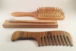 Bamboo Hairbrush, Fine Tooth Sandalwood Comb +Eco Friendly B