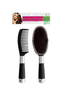 Bulk Buys BE283-24 Plastic Brush and Comb Set In Poly Bag wi