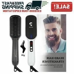 Beard Straightener Brush Ionic Electric Men Facial Hair Comb