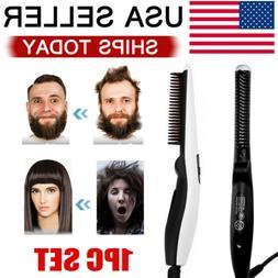Beard Straightener Comb Quick Heated Brush Styler For Mens P
