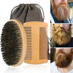 Boar Bristle Beard Mustache Comb Wood Set Handle Hair Brush