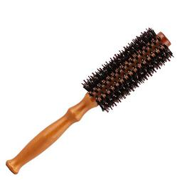 Natural Boar Bristle Hair Brush with Round Wooden Handle for