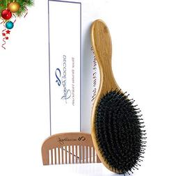 Boar Bristle Hair Brush, Natural Wild Boars Bristles Mixed w