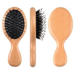 FESHFEN Boar Bristle Hair Brush - Mini Natural Beech Wood Ha