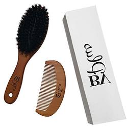 Boar Bristle Hair Brush Set Natural Wooden Handle Men or Wom