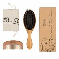 Boar Bristle Hair Brush Set for Women and Men - Designed for