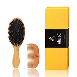 Natural Boar Bristle Hair Brush Set For Women And Men With T