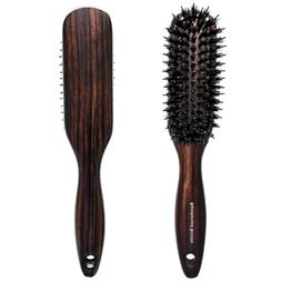 Boar Bristle Hair Brush with Nylon Pins for Thick Curly Long