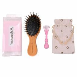 Boar Bristle Hair Brush With Soft Detangle Nylon Pins,Natura