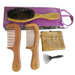 Boar Bristle Hair Brush with Natural Green Sandalwood Handle