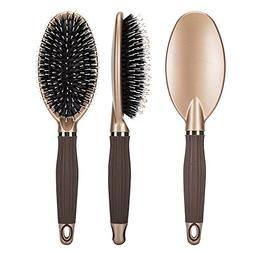 Natural Boar Bristle Paddle Hair Brush with Velvet Touch Han