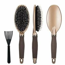 Boar Bristle Paddle Hair Brush,Detangling Brush for Straig