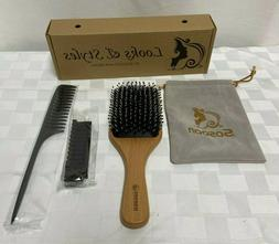 Boar Bristle Paddle Hairbrush And Tail Comb Sosoon