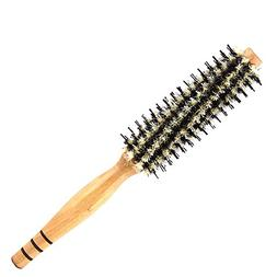 Natural Boar Bristle Round Hair Brush with Wooden Handle for