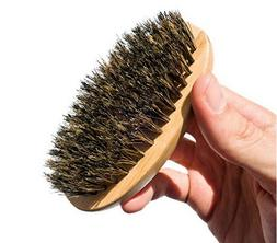 Men Boar Hair Bristle Beard Mustache Brush Palm Soft Round W