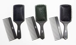 BRAND NEW PRO SOFT PADDLE HAIR BRUSH AND WIDE TOOTH COMB SET