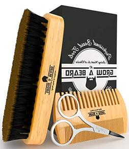 Mens Brush And Comb Set Stylish Hair Kit Polish Beards Natur