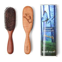 100% Pure Calcutta Wild Boar Bristle Hair Brush, Butterfly E