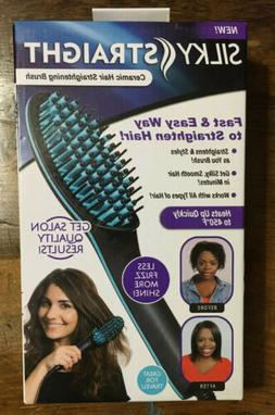 Silky Straight Ceramic Hair Straightening Brush, Less Frizz