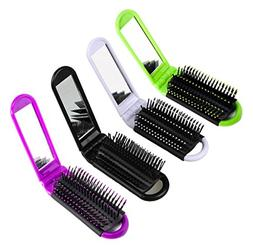 LOUISE MAELYS 4pcs Colorful Portable Folding Hair Brush with