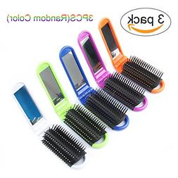 3pcs Colorful Portable Folding Hair Brush with Mirror Compac