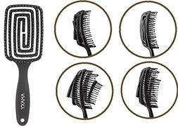Amaxy Curved & Vented Detangling Hair Brush - Faster Blowdry