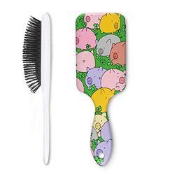 Unisex Detangle Hair Brush Cute Pig and Lucky Four Leaf Clov