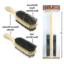 Double Hard & Soft Boar Bristle Wave Hair Brush Natural Wood