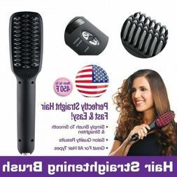 Electric Black Ceramic Hair Straightening Brush Salon Smooth