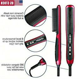 Electric Quick Heated Beard Straightener Brush Hair Comb Cur