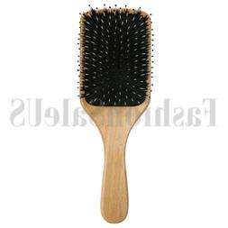 Fashion Wood Natural Boar Bristle Hair Brush Wooden Paddle C