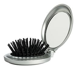 Folding Travel Hair Brush & Mirror - Mini Pop-Up Hairbrush