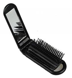 Folding Hair Brush With Mirror - Compact Pocket Size