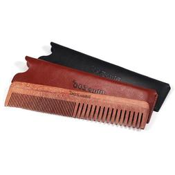 Hair Beard Comb Brush Fine Thick Tooth Men's Wooden Leather