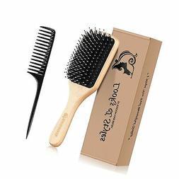 Hair Brush, Sosoon Boar Bristle Paddle Hairbrush for Long Sh