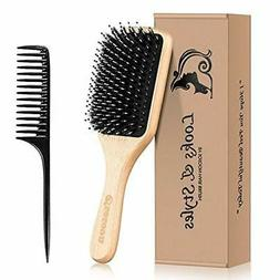 Hair Brush, Sosoon Boar Bristle Paddle Hairbrush Wooden Brus