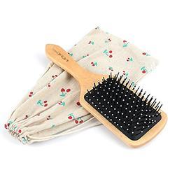 Hair Brush, 100% Natural Wooden Hair Brush,Paddle Hair Brush